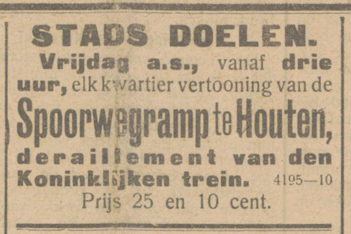Media in 1917 over de spoorwegramp in Houten