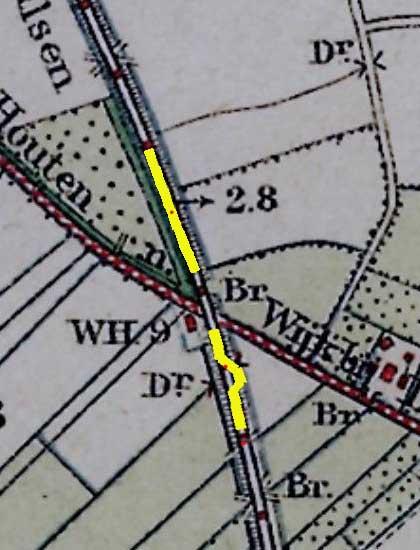 Locatie spoorwegongeluk 1917 op Bonnekaart